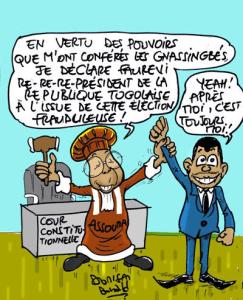 Source : Cour Constitutionnelle du Togo avalise la victoire frauduleuse de Faure Gnassingbé, 25 avril 2015 | Caricature : Donisen Donald
