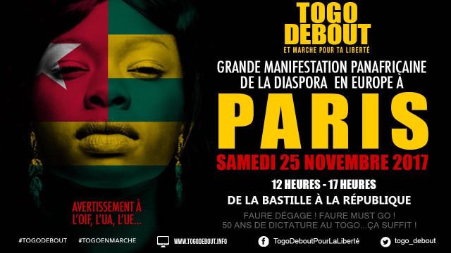 manif de la diaspora togolaise le 25-11-2017 a paris
